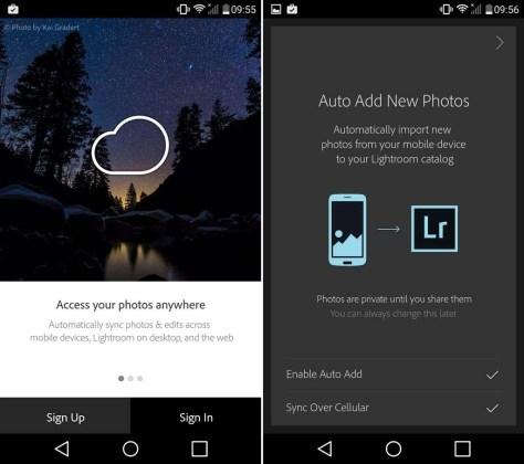 Meld je in de Lr Mobile-app aan met je Creative Cloud-inloggegevens. Je krijgt de vraag of je automatisch na het nemen van een foto die wil toevoegen (Auto Add New Photos) en of je de foto's wil synchroniseren 'over cellular', via je data-verbinding. Dit uitzetten is meestal de geëigende keze.