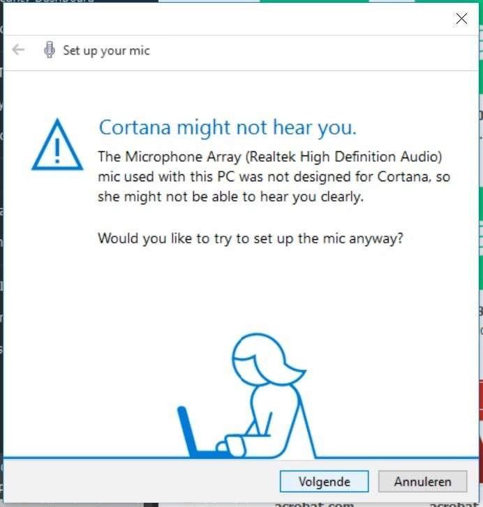 De microfoon in mijn Surface Pro 3 is niet ontworpen voor Cortana, waardoor ze me misschien niet helemaal goed kan horen.