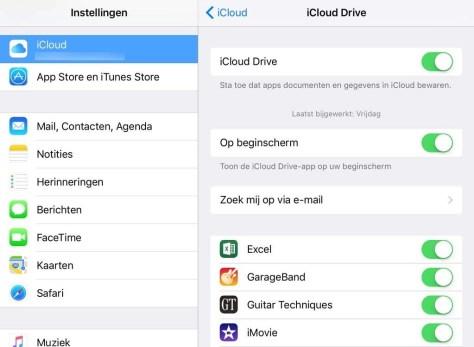 De instellingen voor iCloud Drive.