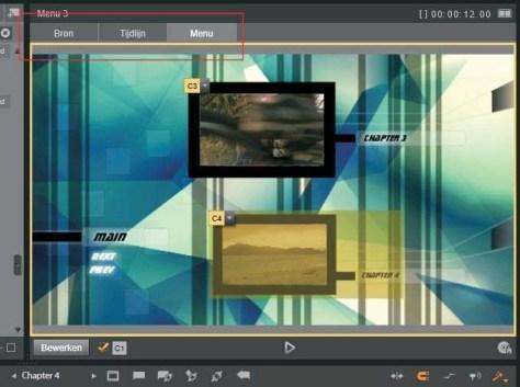 De knoppen voor selectie van de weergave in de player.