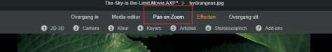 Het gereedschap Pan en Zoom opgestart vanaf de tijdlijn op een stilstaande afbeelding.