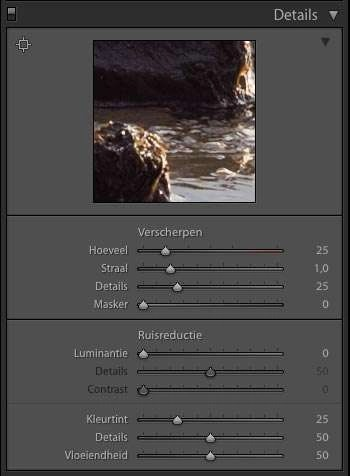 verscherpen in Lightroom