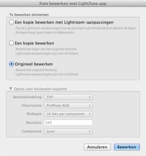 Bij een bestaand TIFF- of JPEG-bestand krijgt u andere keuzes voorgeschoteld. Het origineel bewerken, een kopie van dat origineel bewerken en een kopie van het origineel bewerken met de Lightroom-aapassingen.