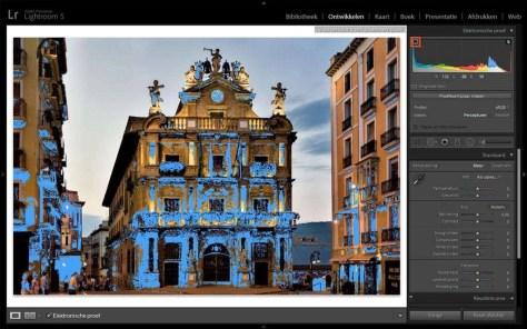 Als u het beeldschermsymbool bovenin het histogram aanklikt, toont Lightroom door een blauwe kleuroverlay welke kleuren het beeldscherm niet kan tonen.