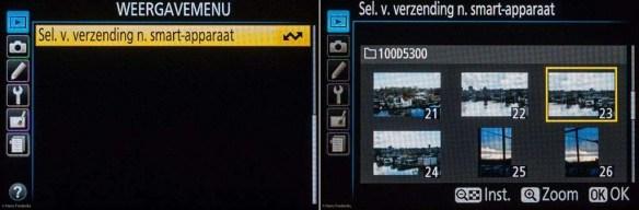 Vanuit het Weergavemenu op je camera kun je foto's selecteren die je draadloos naar je smartapparaat wilt sturen.