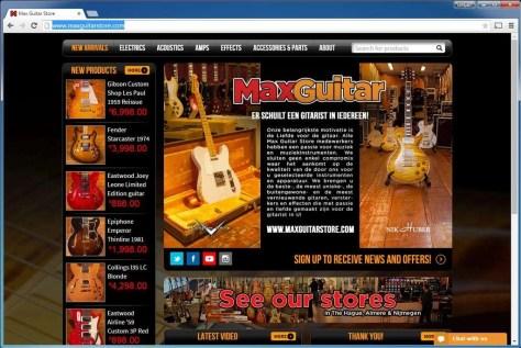 Max Guitar Store. Gitaarliefhebbers kunnen hier terecht voor gitaren en bijbehorende producten. Maakt naast WooCommerce ook gebruik van WordPress SEO by Yoast en W3 Total Cache. Die laatste is een populaire plug-in om de sitesnelheid te verbeteren.