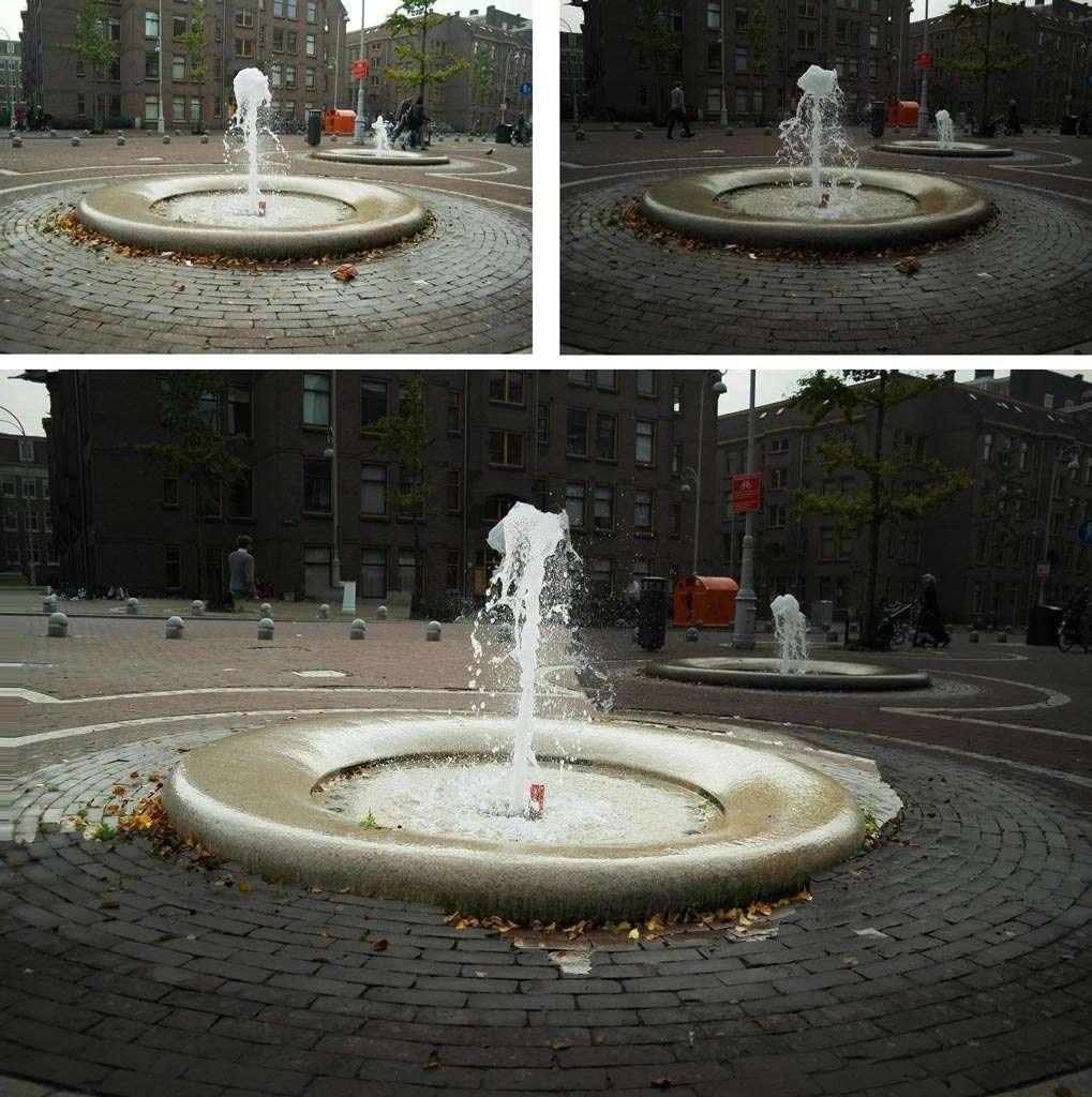 Bovenaan: Twee verschillend belichte foto's die tot een eenheid moeten worden gebracht. Eindresultaat (onder): Het is nog behoorlijk lastig (zie de straatklinkers rond de fontein) om precies aan te geven welk deel je gekopieerd wilt hebben.
