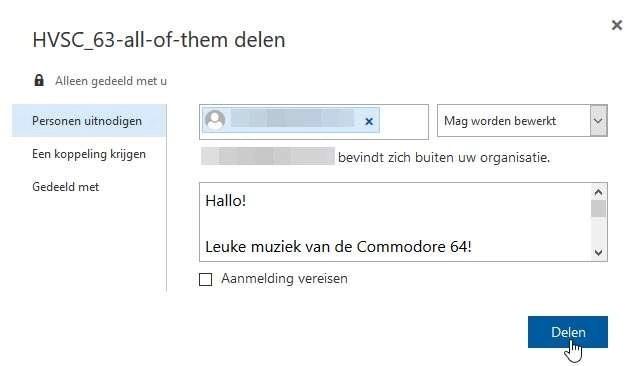 Klik op Personen uitnodigen en vul de benodigde gegevens in; schakel eventueel de optie Aanmelding vereisen uit om de ontvanger het bestand direct via een enkele klik te laten downloaden.