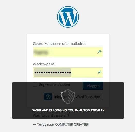De wachtwoordmanager vult automatisch je inloggegevens in en je wachtwoord.