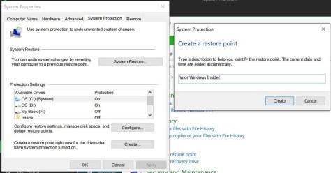 Een herstelpunt maken voordat je veranderingen in je Windows-installatie aanbrengt!
