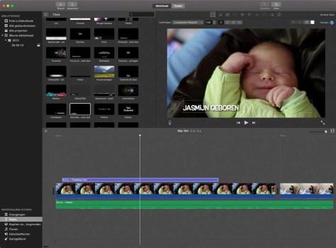 Het iMovie-venster heeft een indeling die we kennen van de andere programma's op de Mac.