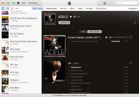Een overzicht van het iTunes-venster.