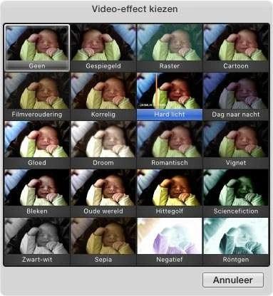 Kies een mooi effect voor je videofragment.