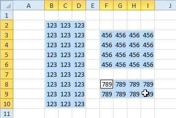 Met ingedrukte Ctrl-toets selecteert u aparte groepen van cellen.