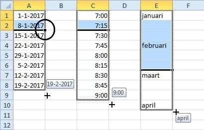 Als u het verschil aangeeft, voert Excel de reeks door.