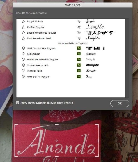 Maak een selectie om de tekst heen. In het menu Type kies je voor Match Font, waarna Photoshop met suggesties komt over fonts die lijken op het font dat in de selectie is gebruikt.