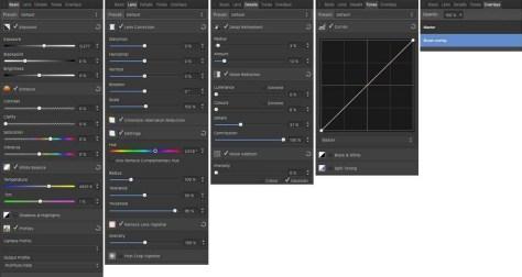 De verschillende panelen voor het ontwikkelen van een Raw-bestand in de Develop Persona.