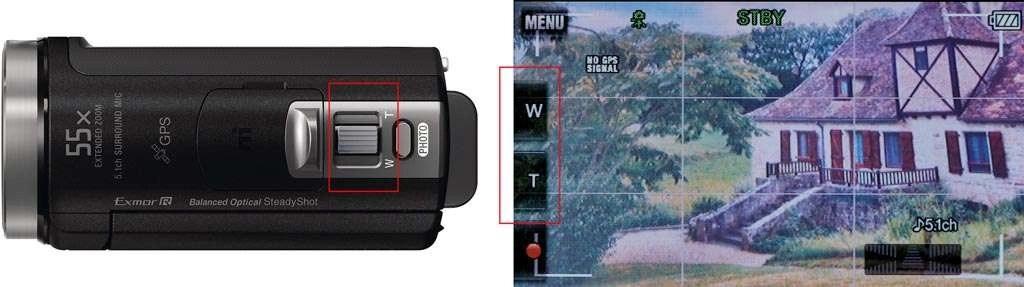 Gebruik de knop bovenop de videocamera of die op het lcd-scherm om in te zoomen op het onderwerp.