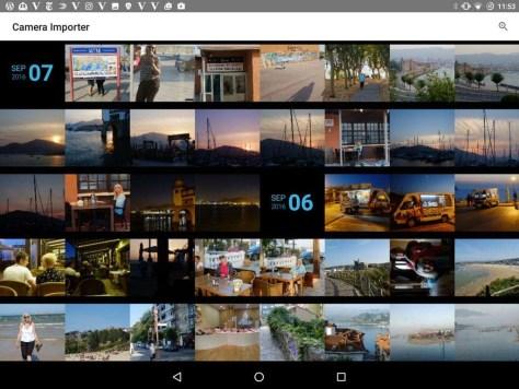 Foto's importeren vanaf de Fuji X-Pro 1 naar een Android-tablet met behulp van de Camera Importer, die alleen maar jpeg-bestanden lustte.