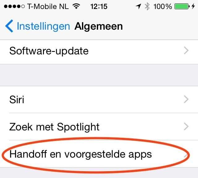 Handoff activeert het iOS-apparaat met Instellingen, Algemeen.