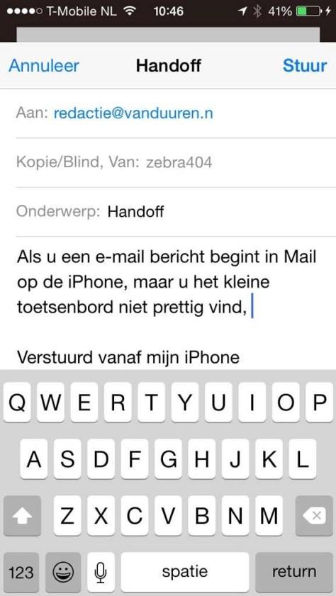 Begin met typen in Mail op uw iPhone…