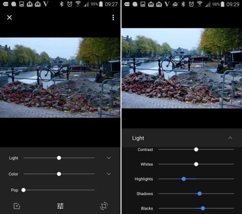 De uitgebreide aanpassingsmogelijkheden in Google Foto's. Links de standaardmogelijkheden, rechts de uitgeklapte mogelijkheden bij Light.