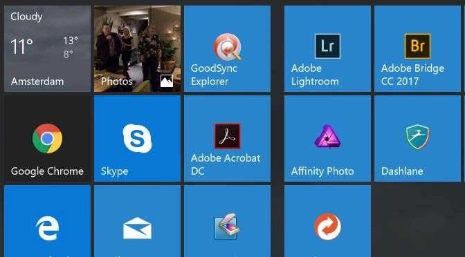 Tegels leggen in Windows 10 Creators-update