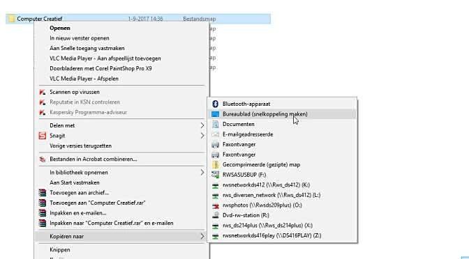 Gebruik snelkoppelingen naar mappen en bestanden op het bureaublad
