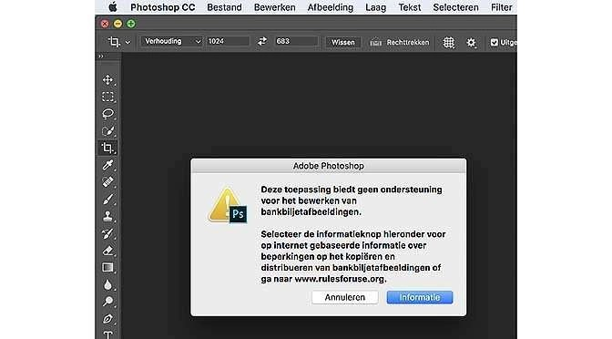 Geldfoto's in Photoshop verboden