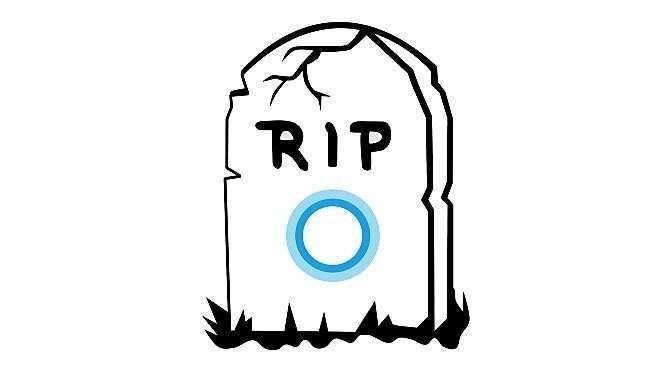 Het einde lijkt te naderen voor Cortana (bronnen afbeelding: https://commons.m.wikimedia.org/wiki/File:Microsoft_Cortana.svg en https://pixabay.com/nl/grafsteen-rip-doden-dood-159792/)