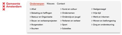 Lijst van taken op website Gemeente Amsterdam