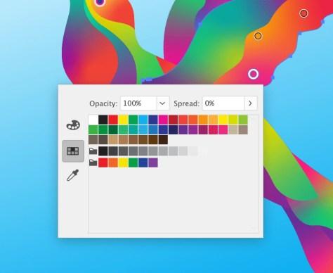 Kies een kleur door te dubbelklikken op een verloopbolletje