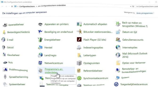Het Windows 10 Configuratiescherm