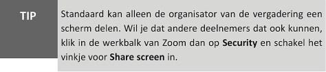 scherm delen in Zoom