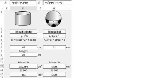 Excel: afmeting van ronde vormen berekenen