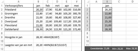 grootste en kleinste waarde opzoeken in Excel