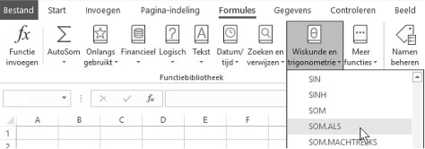 formule via het dialoogvenster in Excel