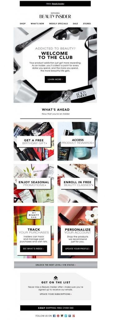Welcome email from Sephora