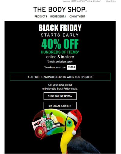 The Body Shop Black Friday Email