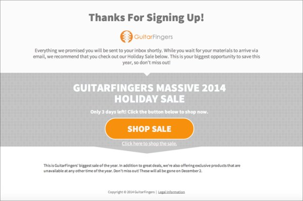 Example: Holiday Thanks You Email