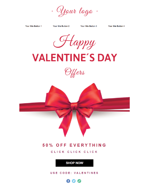 Valentines Day Email Template - Gift Bow