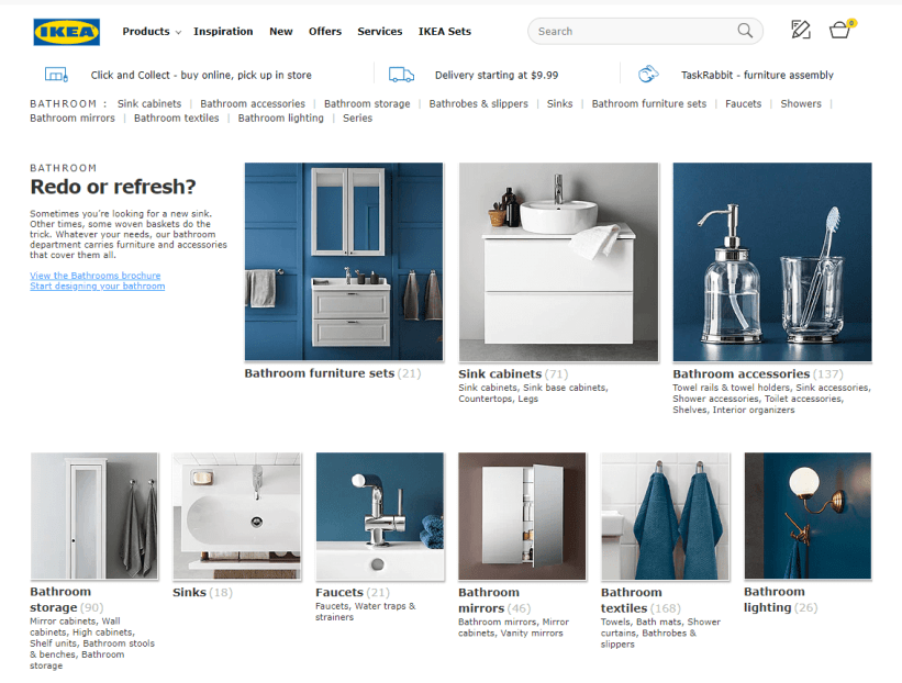Ikea category page example
