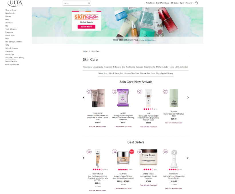 Ulta category page example