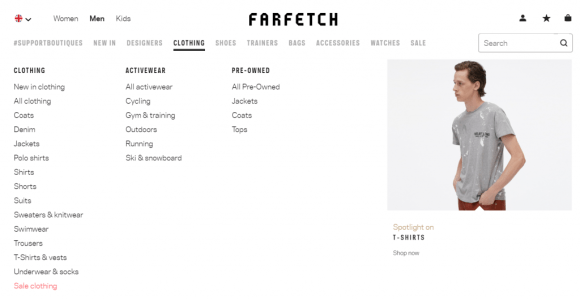 Screenshot of farfetch category navigation