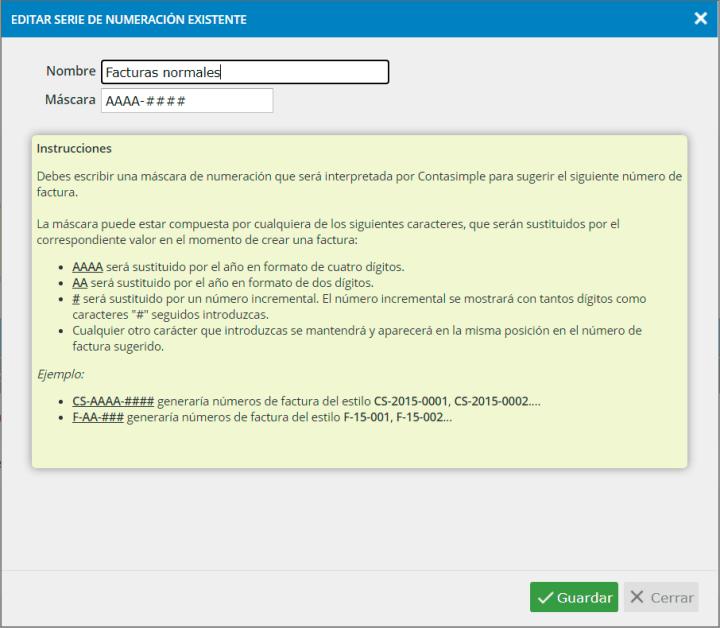 Editar serie de numeración de facturas