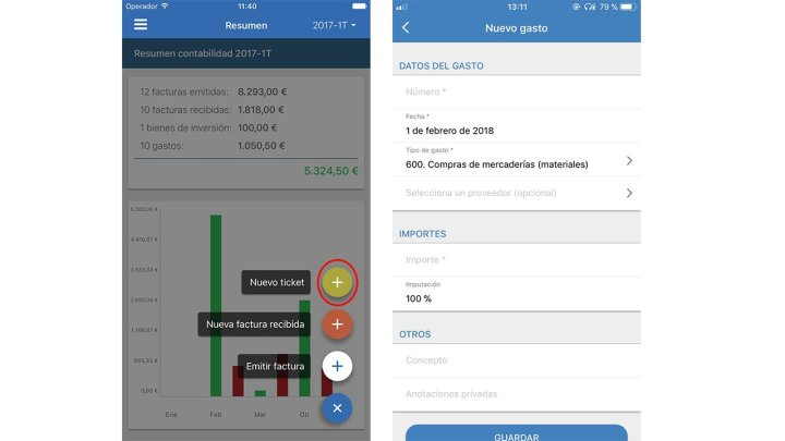 Nuevo gasto app de contasimple