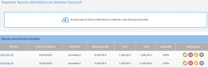 Importar facturas recibidas en formato FacturaE
