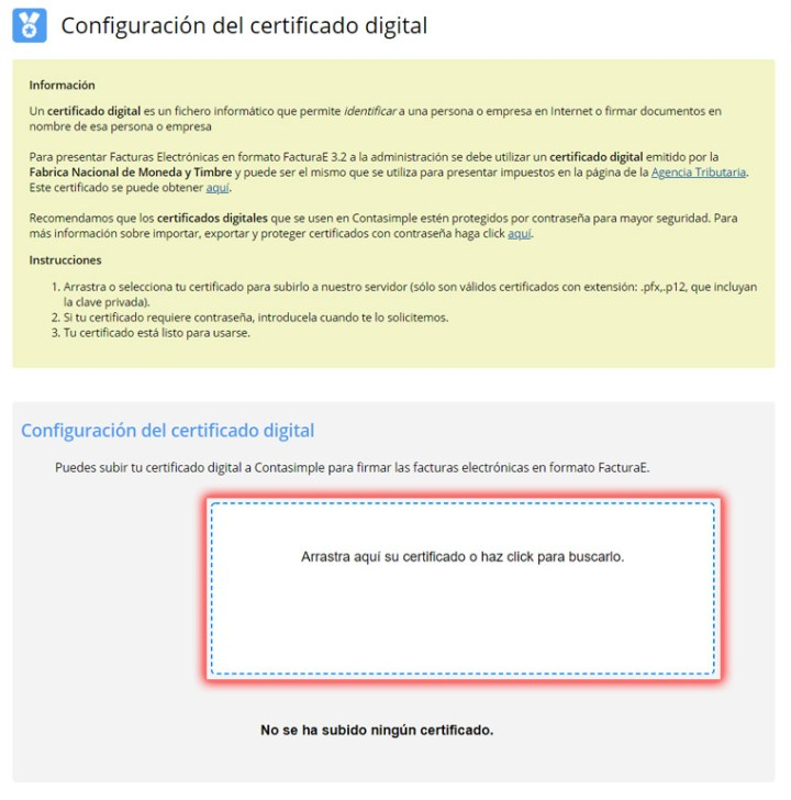 Haz click para subir tu certificado