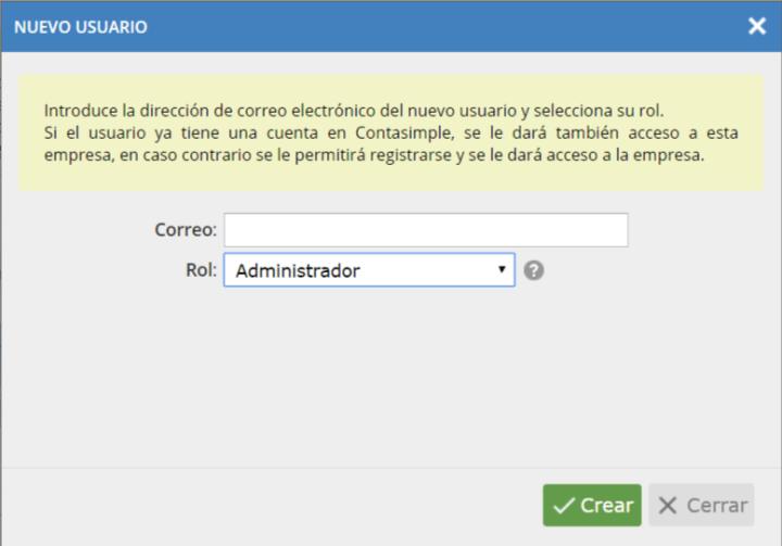 Nuevo usuario: mail y rol.