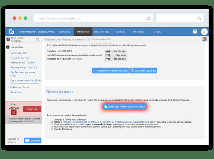 Descargar fichero y guardar datos del modelo de impuestos